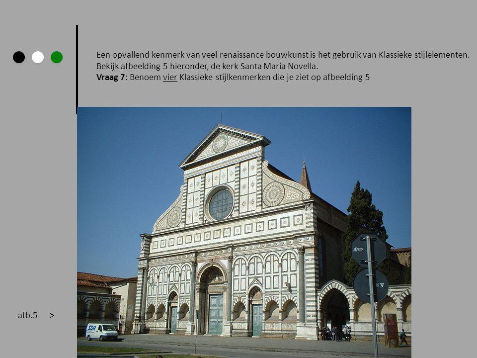 Een opvallend kenmerk van veel renaissance bouwkunst is het gebruik van Klassieke stijlelementen. Bekijk afbeelding 5 hieronder, de kerk Santa Maria N