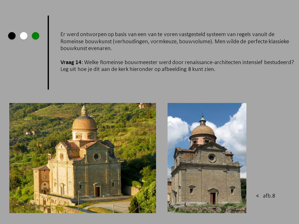 Er werd ontworpen op basis van een van te voren vastgesteld systeem van regels vanuit de Romeinse bouwkunst (verhoudingen, vormkeuze, bouwvolume). Men