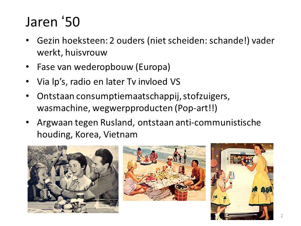 Jaren '50 Gezin hoeksteen: 2 ouders (niet scheiden: schande!) vader werkt, huisvrouw Fase van wederopbouw (Europa) Via lp's, radio en later Tv invloed