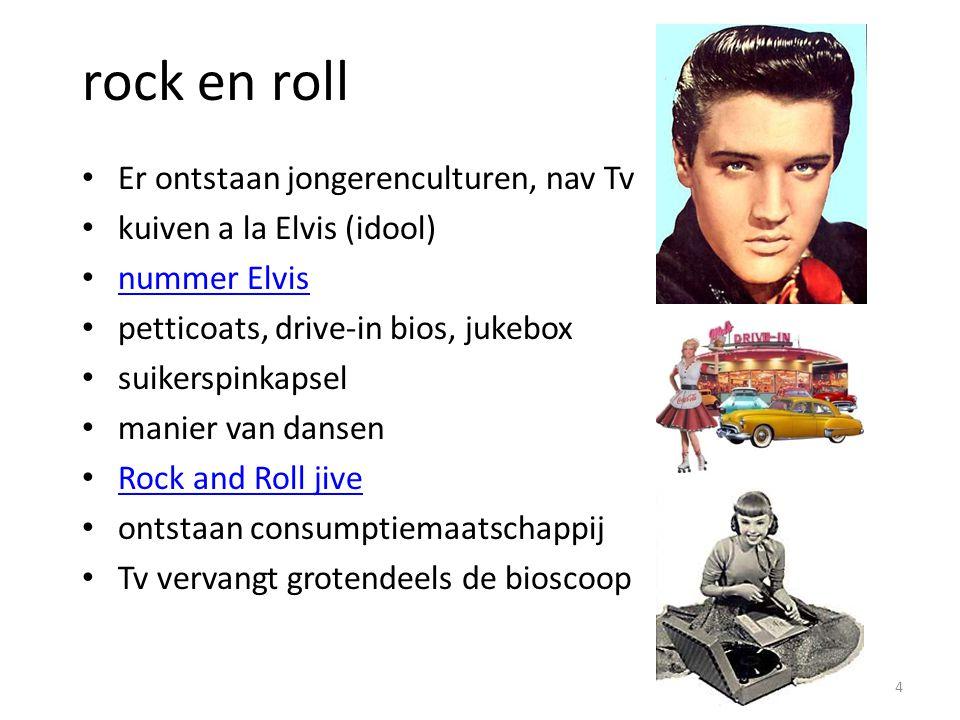 rock en roll Er ontstaan jongerenculturen, nav Tv kuiven a la Elvis (idool) nummer Elvis petticoats, drive-in bios, jukebox suikerspinkapsel manier va
