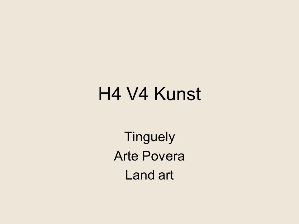 kinetische kunst - bewegingskunst Jean Tinguely nutteloze 'machines' verzet tegen elitair/serieus karakter kunst humor, ironie, afvalmaterialen http://www.youtube.com/watch?v=EPXaZX9J62k http://www.youtube.com/watch?v=5zrqwTEYlRc&feature=related invloed dada zijn werk maakt de overproductie van consumptiegoederen belachelijk