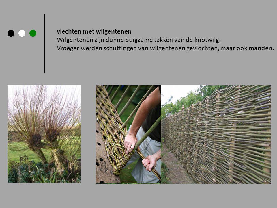 vlechten met wilgentenen Wilgentenen zijn dunne buigzame takken van de knotwilg.