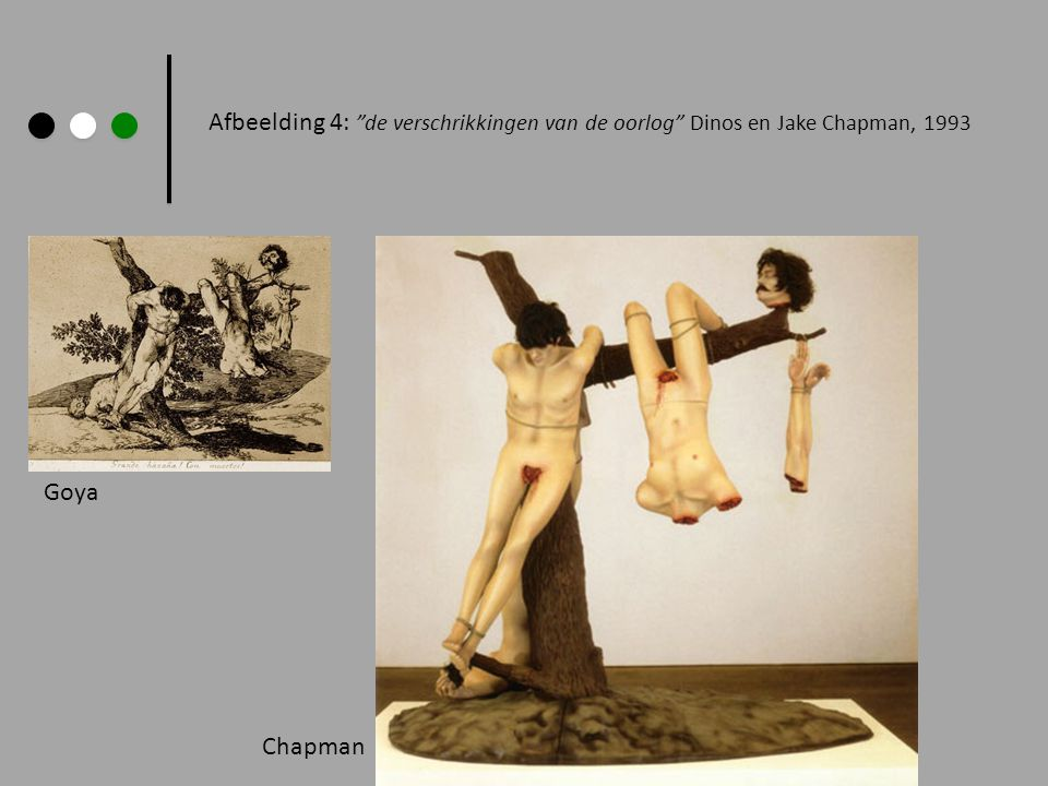 Afbeelding 4: de verschrikkingen van de oorlog Dinos en Jake Chapman, 1993 Goya Chapman