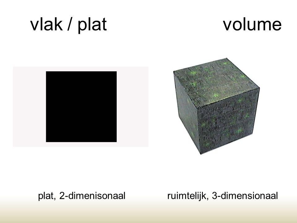 vlak / platvolume plat, 2-dimenisonaalruimtelijk, 3-dimensionaal