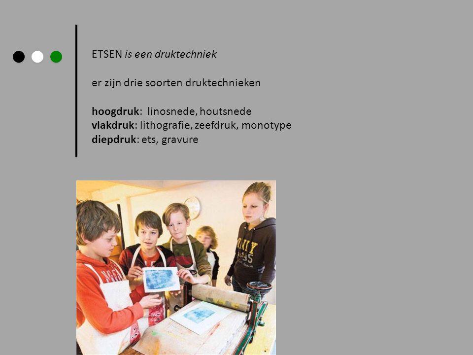 ETSEN is een druktechniek er zijn drie soorten druktechnieken hoogdruk: linosnede, houtsnede vlakdruk: lithografie, zeefdruk, monotype diepdruk: ets,