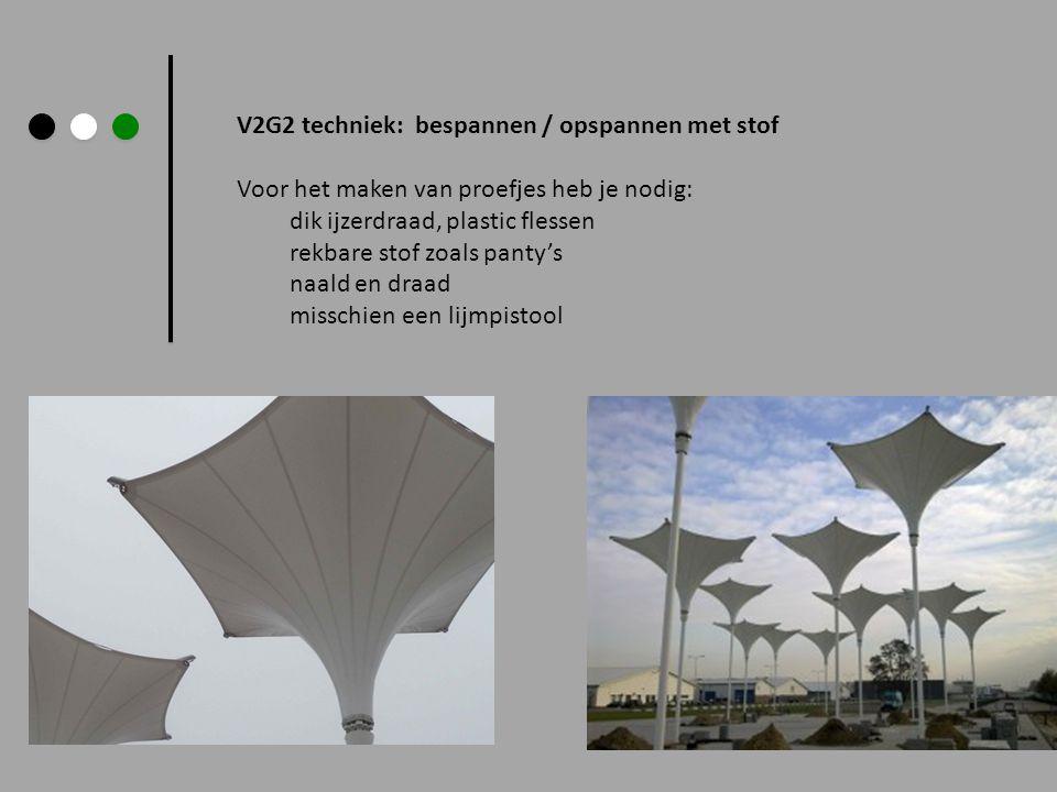 V2G2 techniek: bespannen / opspannen met stof Voor het maken van proefjes heb je nodig: dik ijzerdraad, plastic flessen rekbare stof zoals panty's naa