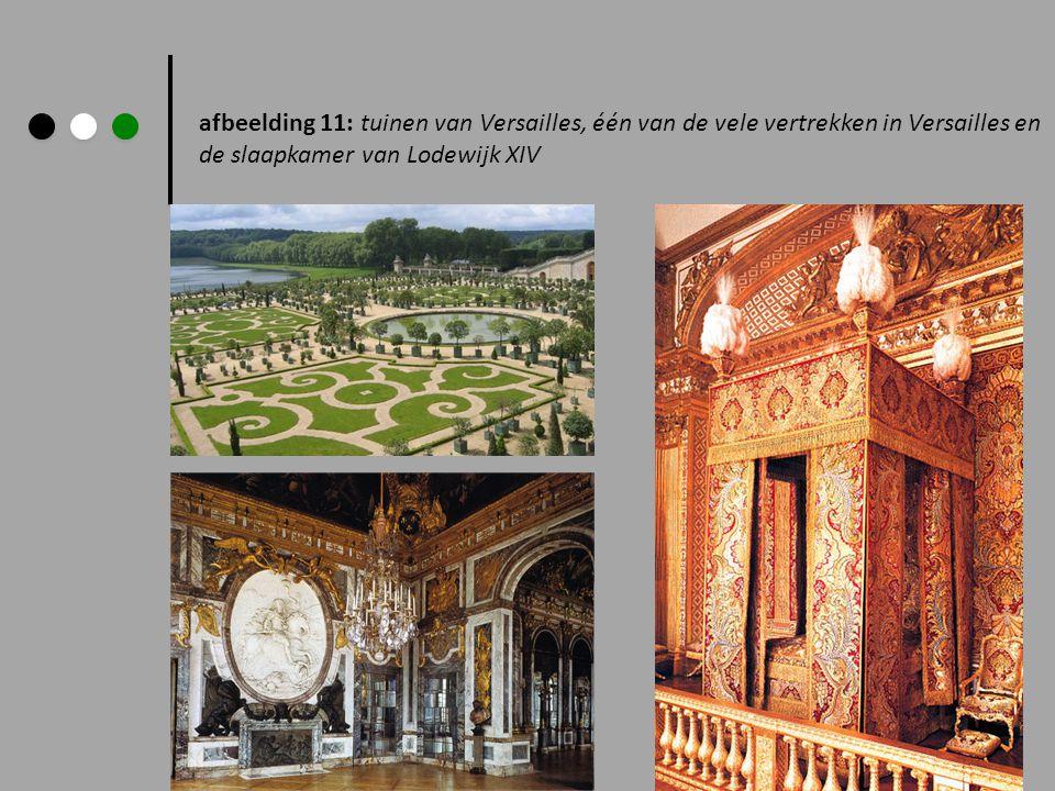 afbeelding 11: tuinen van Versailles, één van de vele vertrekken in Versailles en de slaapkamer van Lodewijk XIV