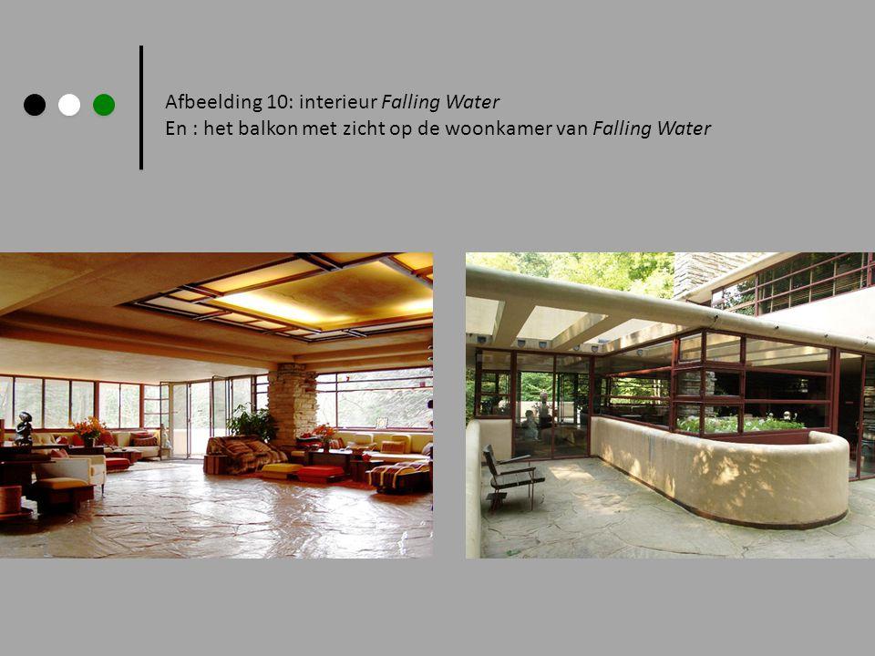 Afbeelding 10: interieur Falling Water En : het balkon met zicht op de woonkamer van Falling Water