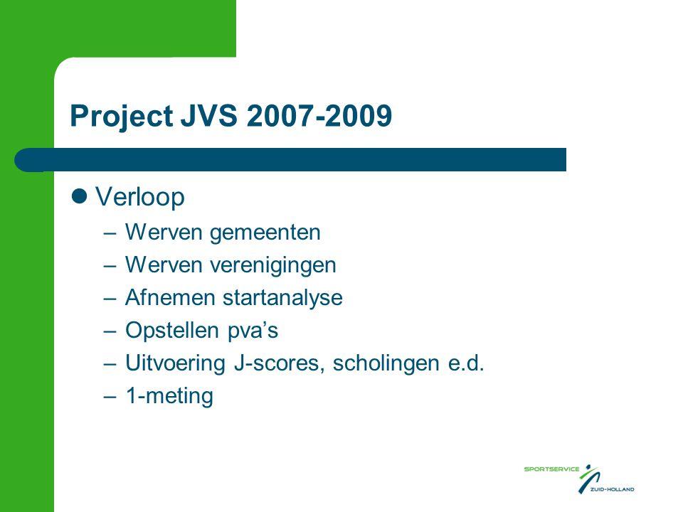 Project JVS 2007-2009 Verloop –Werven gemeenten –Werven verenigingen –Afnemen startanalyse –Opstellen pva's –Uitvoering J-scores, scholingen e.d. –1-m