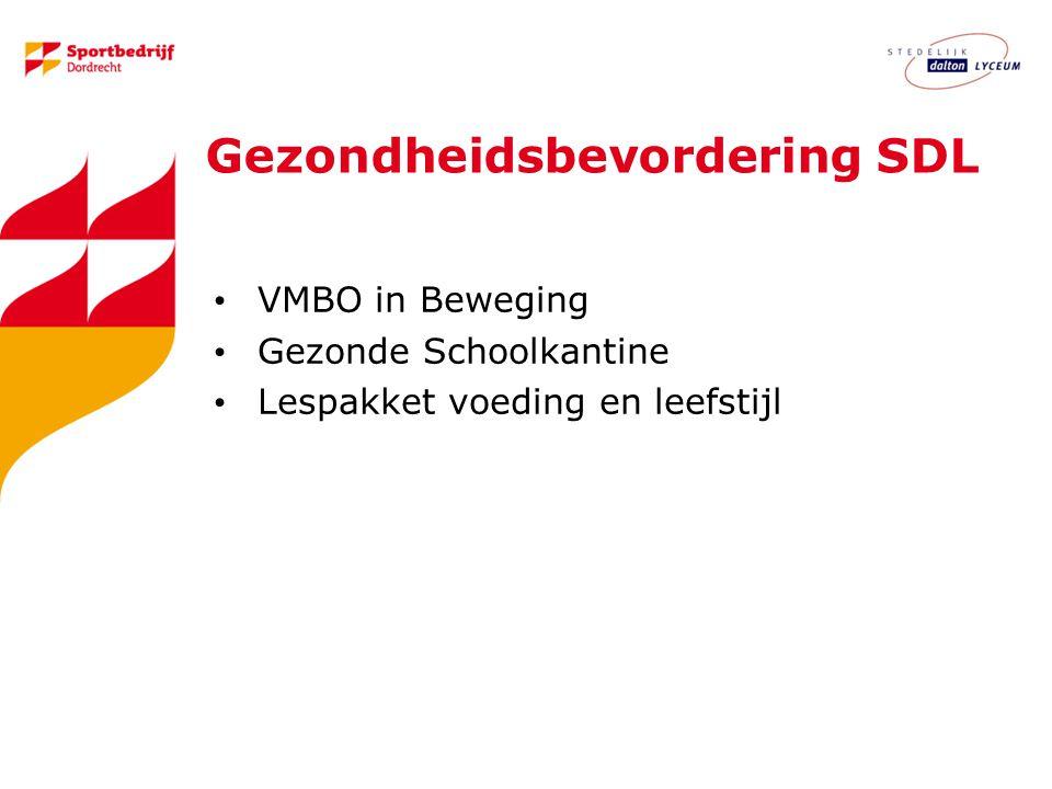 Gezondheidsbevordering SDL VMBO in Beweging Gezonde Schoolkantine Lespakket voeding en leefstijl
