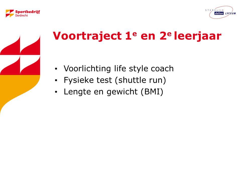 Voortraject 1 e en 2 e leerjaar Voorlichting life style coach Fysieke test (shuttle run) Lengte en gewicht (BMI)