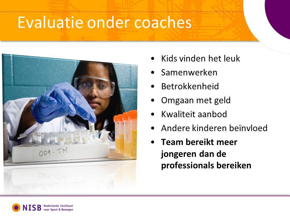 Evaluatie onder coaches Kids vinden het leuk Samenwerken Betrokkenheid Omgaan met geld Kwaliteit aanbod Andere kinderen beïnvloed Team bereikt meer jongeren dan de professionals bereiken