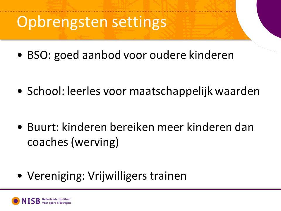 Opbrengsten settings BSO: goed aanbod voor oudere kinderen School: leerles voor maatschappelijk waarden Buurt: kinderen bereiken meer kinderen dan coa