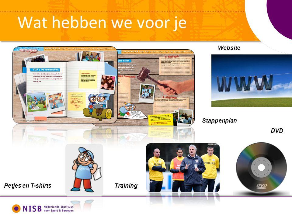 Wat hebben we voor je Petjes en T-shirts Stappenplan Training DVD Website