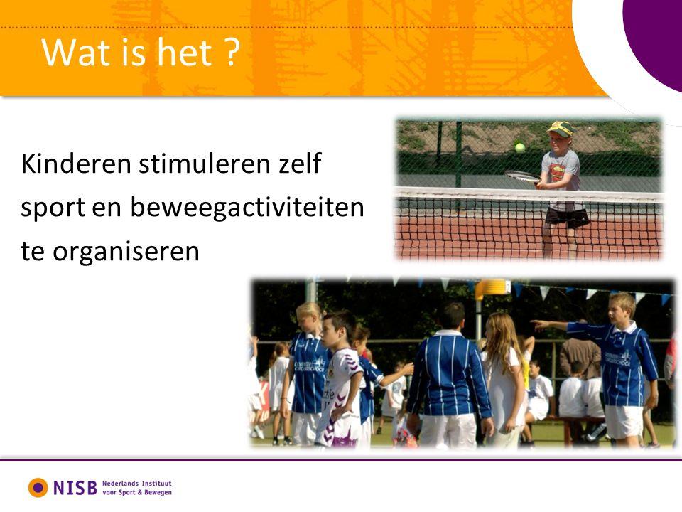 Wat is het ? Kinderen stimuleren zelf sport en beweegactiviteiten te organiseren