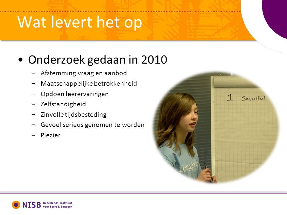 Wat levert het op Onderzoek gedaan in 2010 –Afstemming vraag en aanbod –Maatschappelijke betrokkenheid –Opdoen leerervaringen –Zelfstandigheid –Zinvol