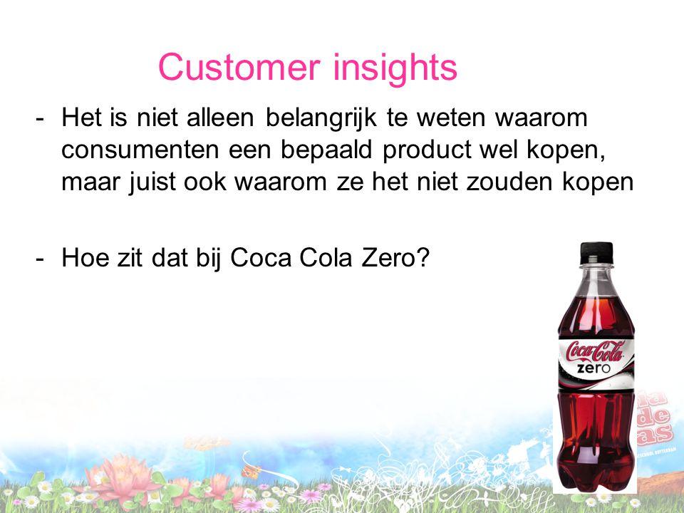 Customer insights -Mannen vinden Coca Cola Light te vrouwelijk -Daarom werd een stoerder uitziende drank geintroduceerd -De insight is hier de reden waarom mannen Coca Cola light niet kopen
