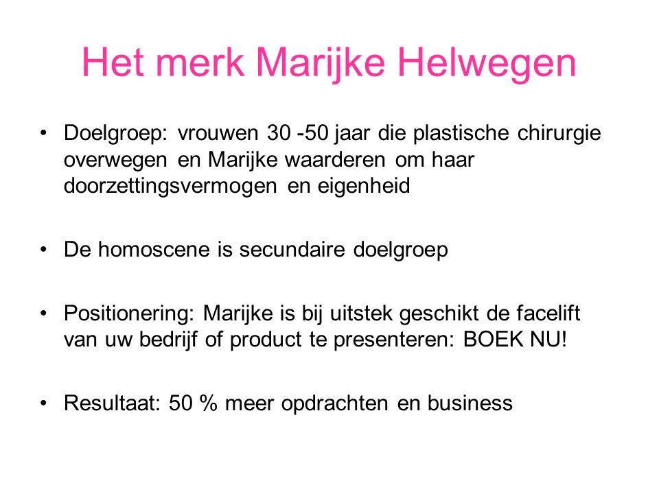 Het merk Marijke Helwegen Doelgroep: vrouwen 30 -50 jaar die plastische chirurgie overwegen en Marijke waarderen om haar doorzettingsvermogen en eigen