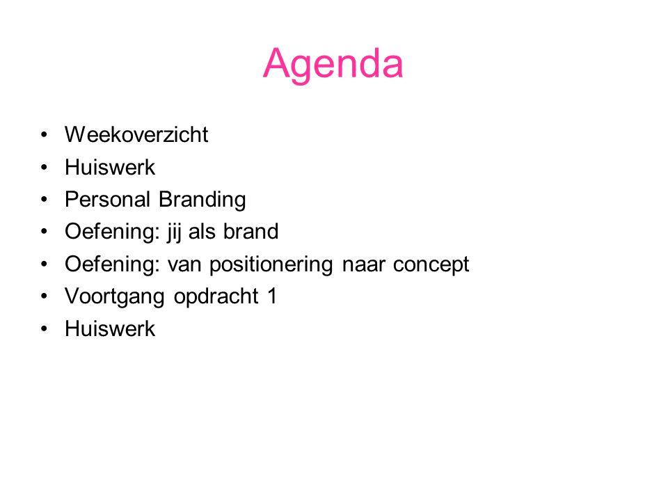 Agenda Weekoverzicht Huiswerk Personal Branding Oefening: jij als brand Oefening: van positionering naar concept Voortgang opdracht 1 Huiswerk