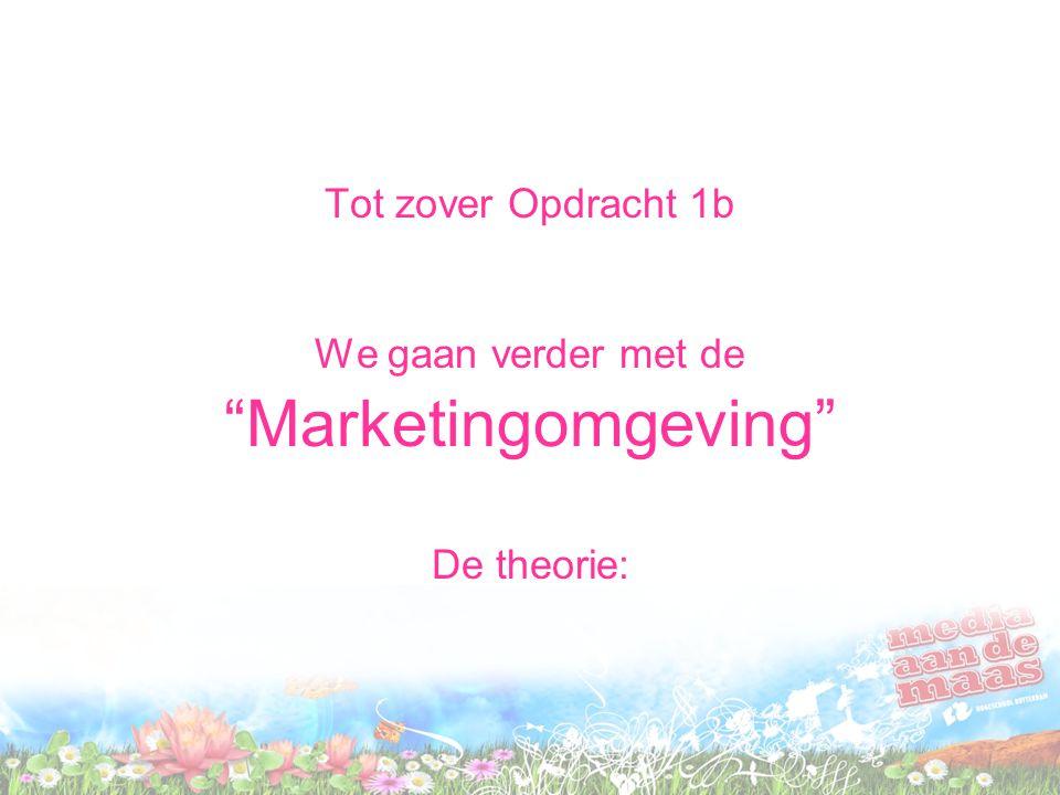 Tot zover Opdracht 1b We gaan verder met de Marketingomgeving De theorie: