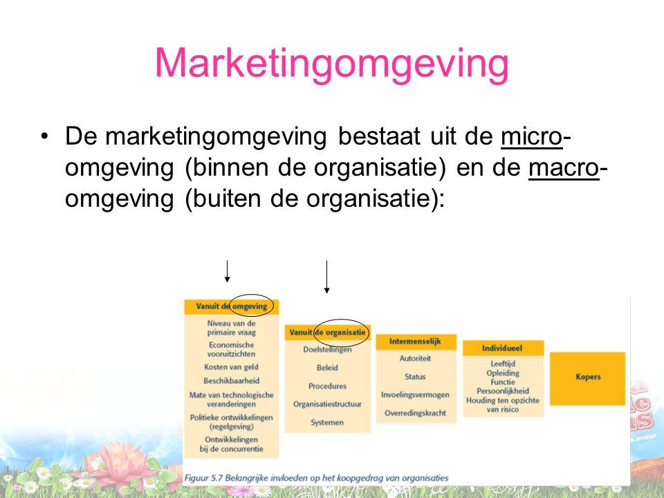 Marketingomgeving De marketingomgeving bestaat uit de micro- omgeving (binnen de organisatie) en de macro- omgeving (buiten de organisatie):