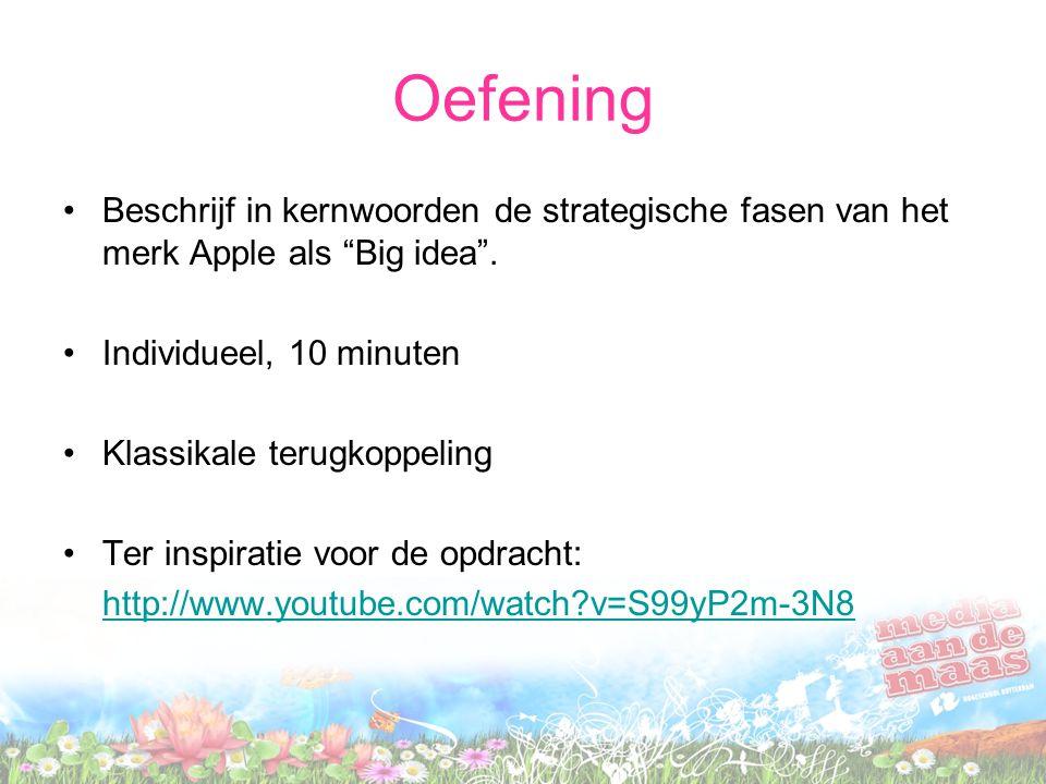 """Oefening Beschrijf in kernwoorden de strategische fasen van het merk Apple als """"Big idea"""". Individueel, 10 minuten Klassikale terugkoppeling Ter inspi"""