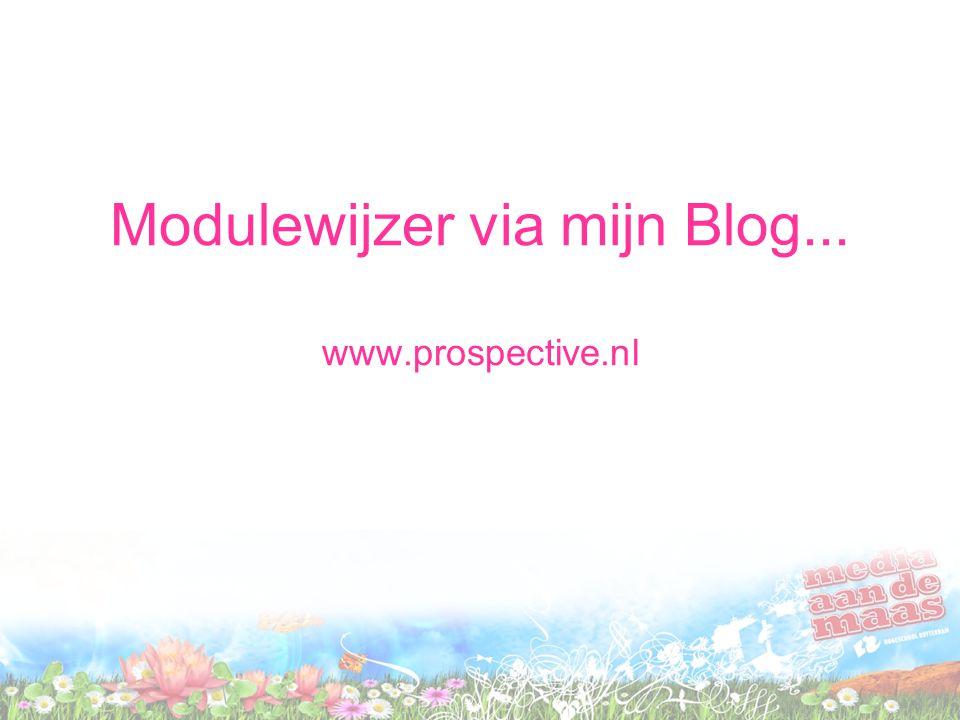 Modulewijzer via mijn Blog... www.prospective.nl