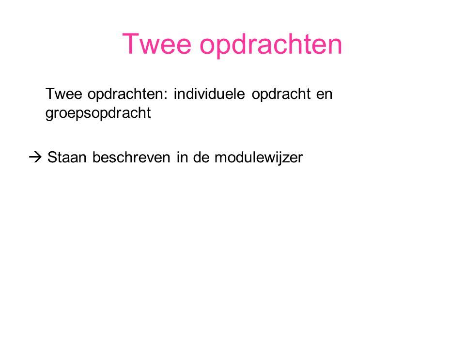 Twee opdrachten Twee opdrachten: individuele opdracht en groepsopdracht  Staan beschreven in de modulewijzer