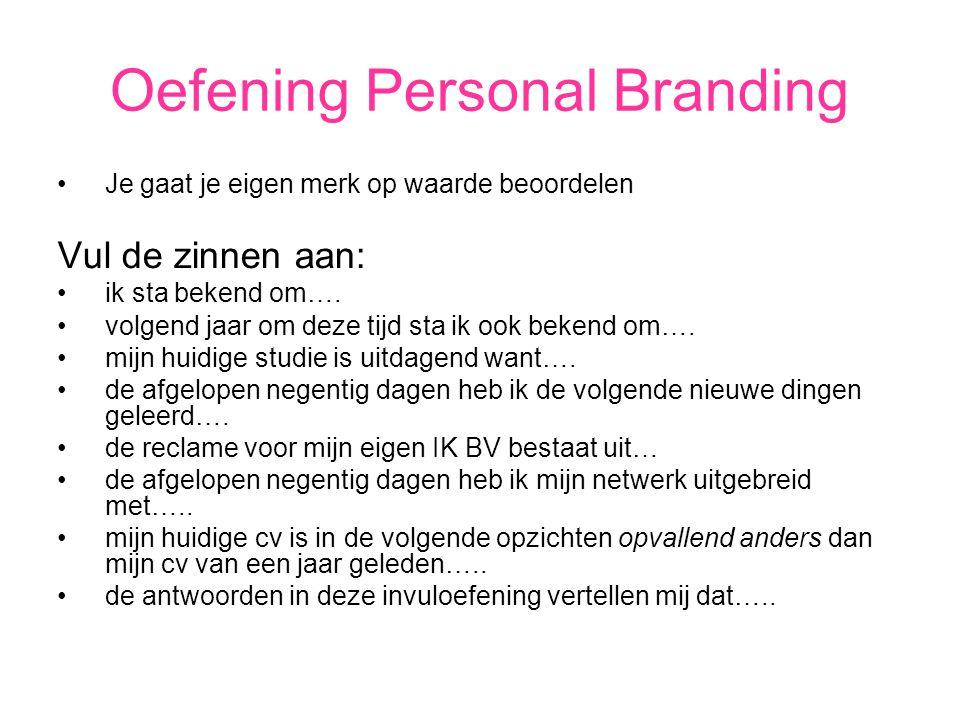 Oefening Personal Branding Je gaat je eigen merk op waarde beoordelen Vul de zinnen aan: ik sta bekend om….