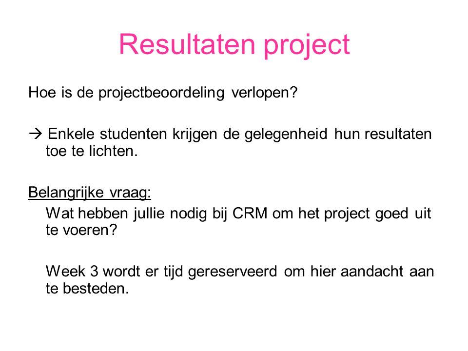 Resultaten project Hoe is de projectbeoordeling verlopen.
