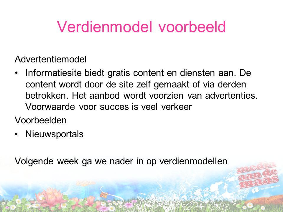Verdienmodel voorbeeld Advertentiemodel Informatiesite biedt gratis content en diensten aan.