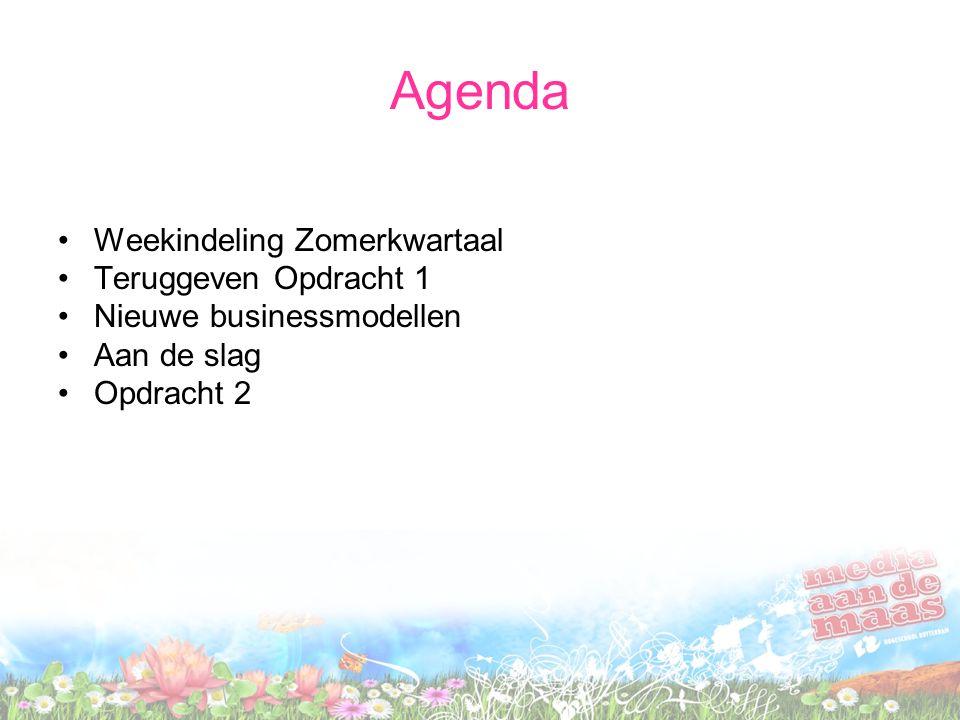 Agenda Weekindeling Zomerkwartaal Teruggeven Opdracht 1 Nieuwe businessmodellen Aan de slag Opdracht 2