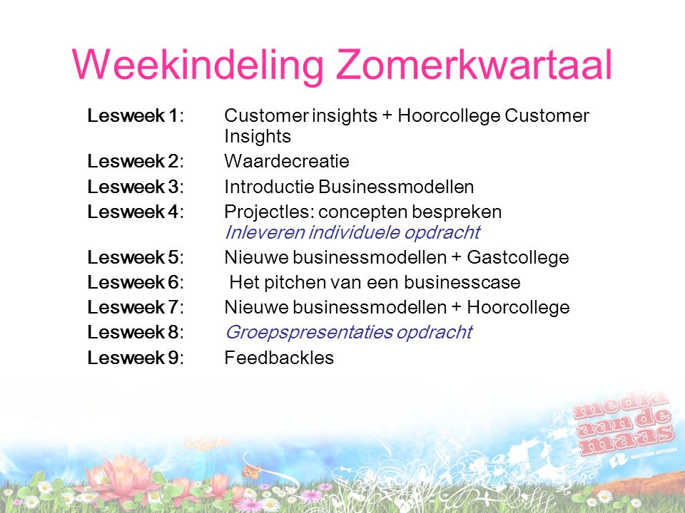 Weekindeling Zomerkwartaal Lesweek 1: Customer insights + Hoorcollege Customer Insights Lesweek 2: Waardecreatie Lesweek 3: Introductie Businessmodell