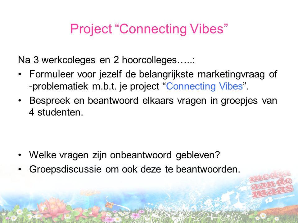 Project Connecting Vibes Na 3 werkcoleges en 2 hoorcolleges…..: Formuleer voor jezelf de belangrijkste marketingvraag of -problematiek m.b.t.