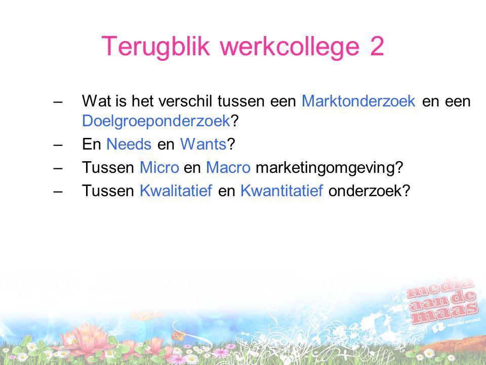 Terugblik werkcollege 2 –Wat is het verschil tussen een Marktonderzoek en een Doelgroeponderzoek.