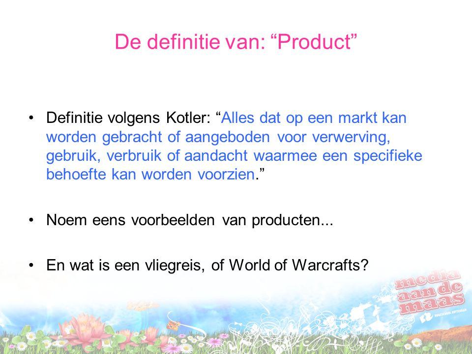 De definitie van: Product Definitie volgens Kotler: Alles dat op een markt kan worden gebracht of aangeboden voor verwerving, gebruik, verbruik of aandacht waarmee een specifieke behoefte kan worden voorzien. Noem eens voorbeelden van producten...