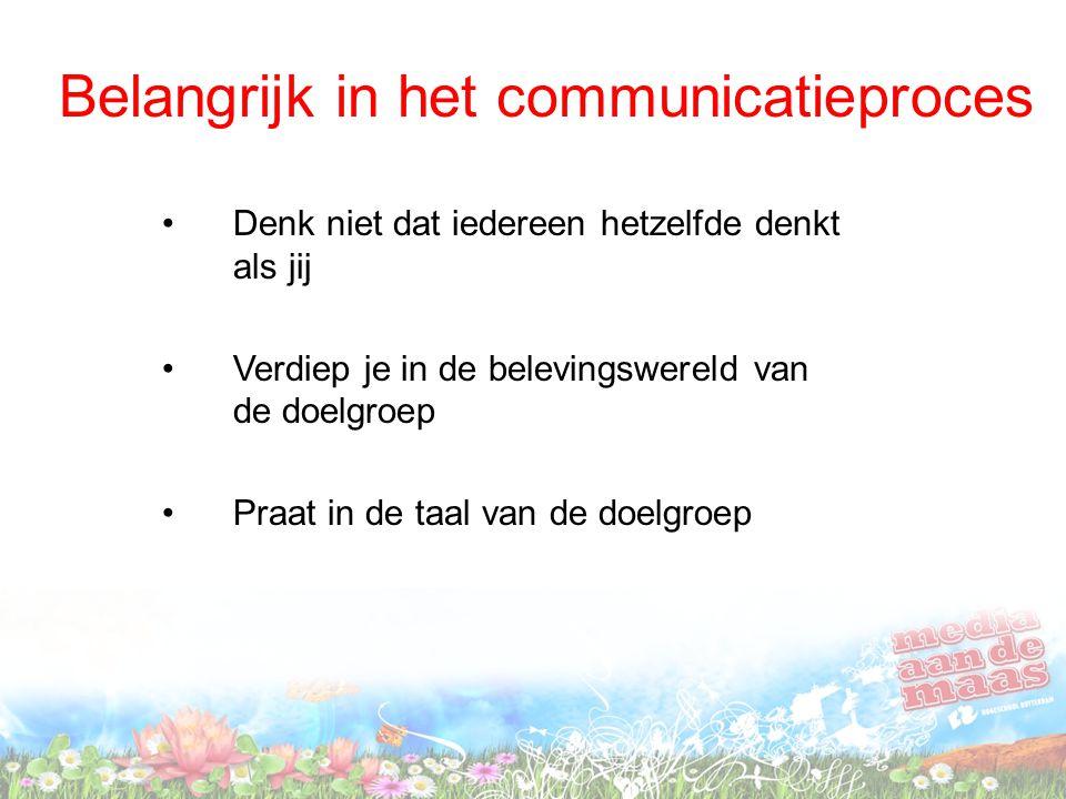 Belangrijk in het communicatieproces Denk niet dat iedereen hetzelfde denkt als jij Verdiep je in de belevingswereld van de doelgroep Praat in de taal