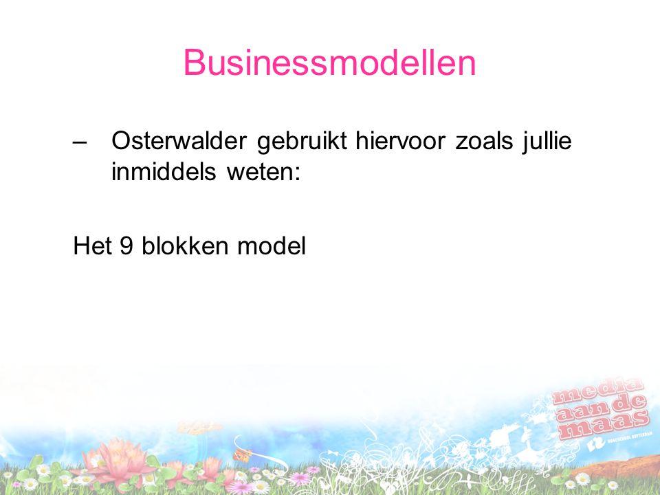 Businessmodellen –Osterwalder gebruikt hiervoor zoals jullie inmiddels weten: Het 9 blokken model