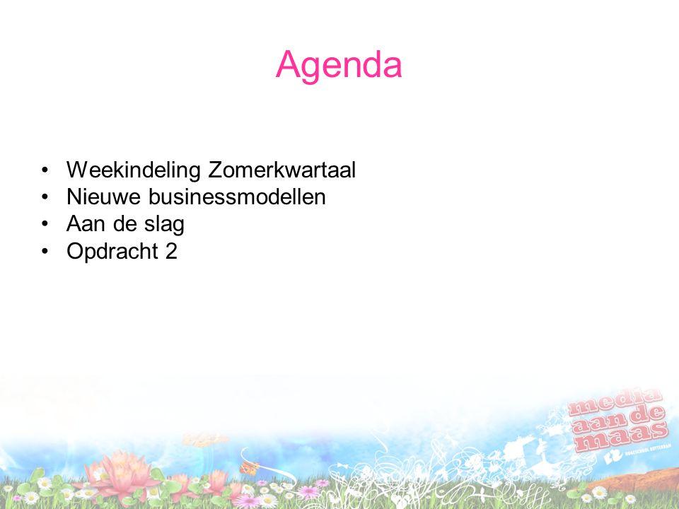Agenda Weekindeling Zomerkwartaal Nieuwe businessmodellen Aan de slag Opdracht 2