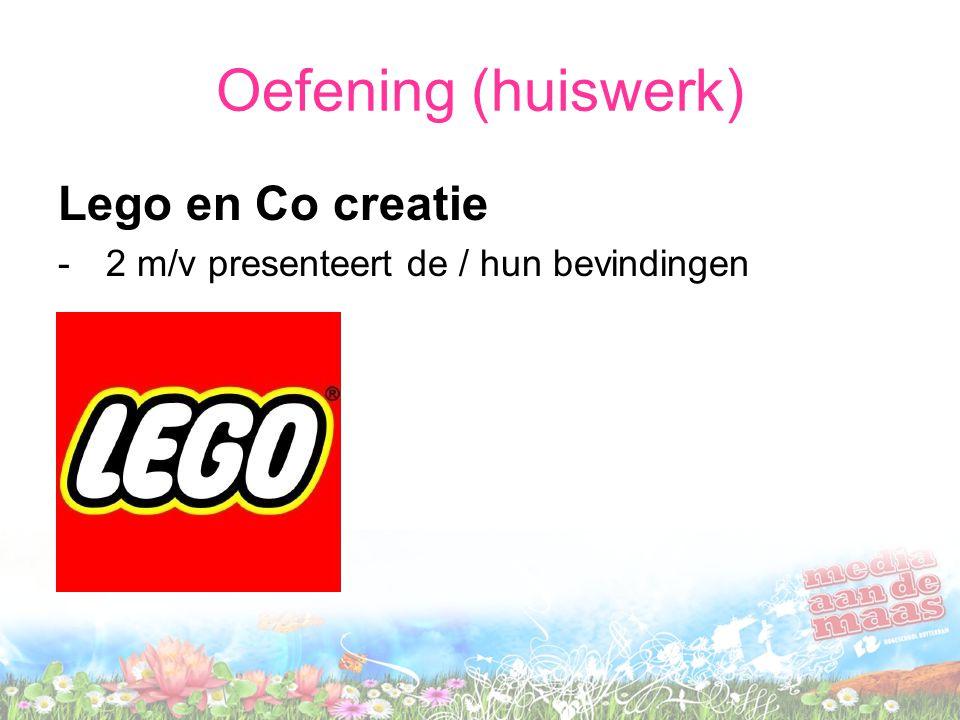 Oefening (huiswerk) Lego en Co creatie -2 m/v presenteert de / hun bevindingen