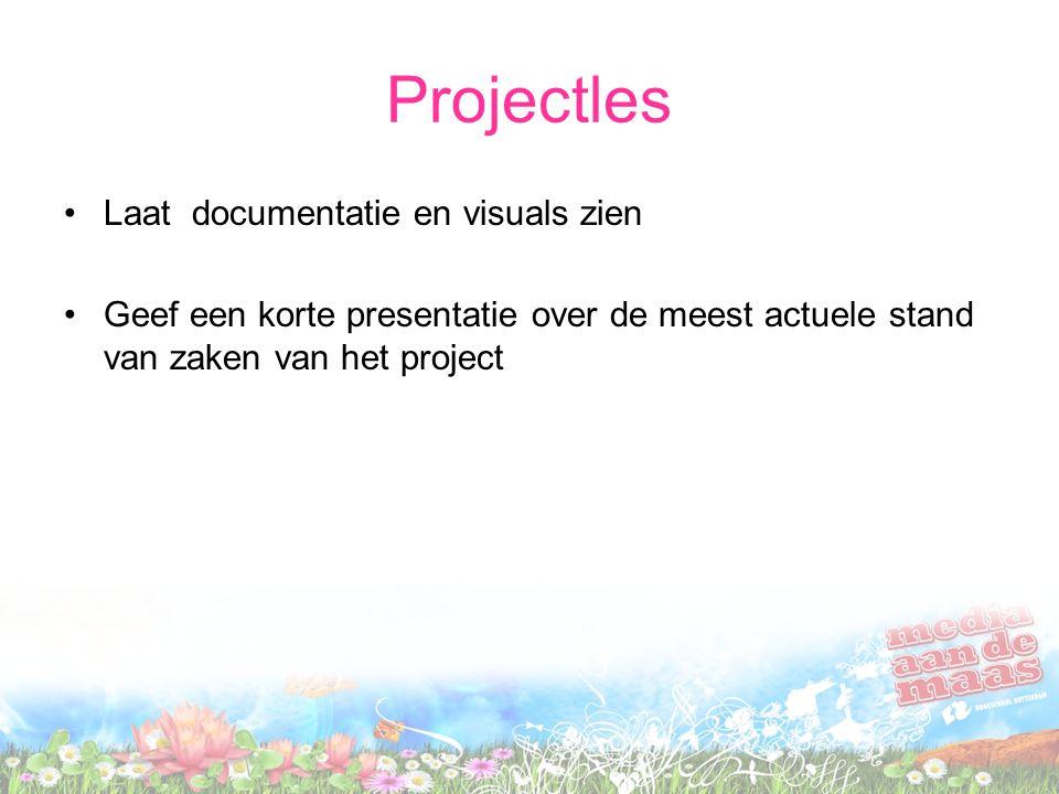 Projectles Laat documentatie en visuals zien Geef een korte presentatie over de meest actuele stand van zaken van het project