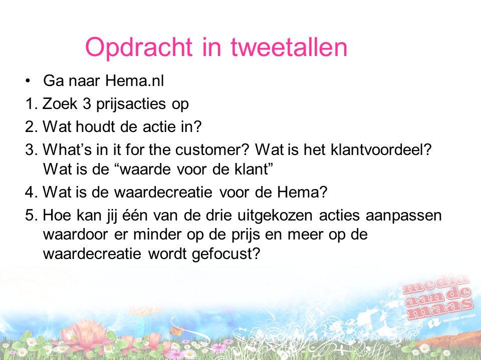 Opdracht in tweetallen Ga naar Hema.nl 1. Zoek 3 prijsacties op 2. Wat houdt de actie in? 3. What's in it for the customer? Wat is het klantvoordeel?