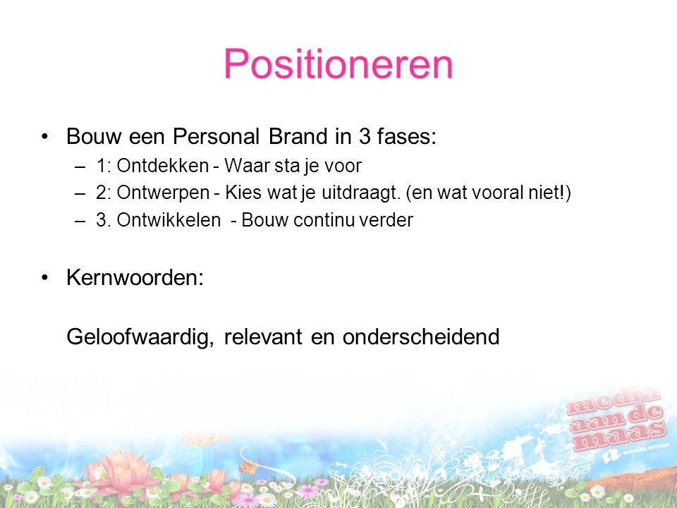 Positioneren Bouw een Personal Brand in 3 fases: –1: Ontdekken - Waar sta je voor –2: Ontwerpen - Kies wat je uitdraagt.