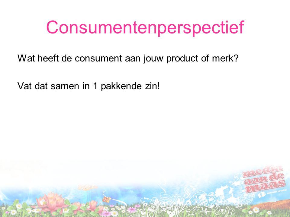 Consumentenperspectief Wat heeft de consument aan jouw product of merk? Vat dat samen in 1 pakkende zin!