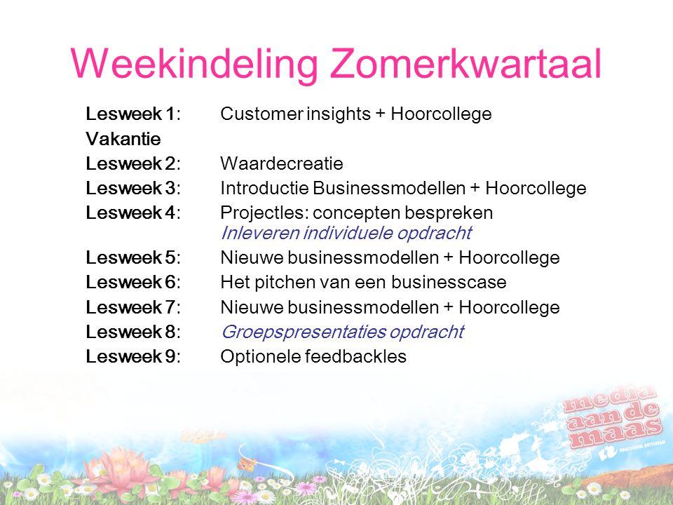 Weekindeling Zomerkwartaal Lesweek 1: Customer insights + Hoorcollege Vakantie Lesweek 2: Waardecreatie Lesweek 3: Introductie Businessmodellen + Hoorcollege Lesweek 4: Projectles: concepten bespreken Inleveren individuele opdracht Lesweek 5: Nieuwe businessmodellen + Hoorcollege Lesweek 6: Het pitchen van een businesscase Lesweek 7:Nieuwe businessmodellen + Hoorcollege Lesweek 8:Groepspresentaties opdracht Lesweek 9:Optionele feedbackles