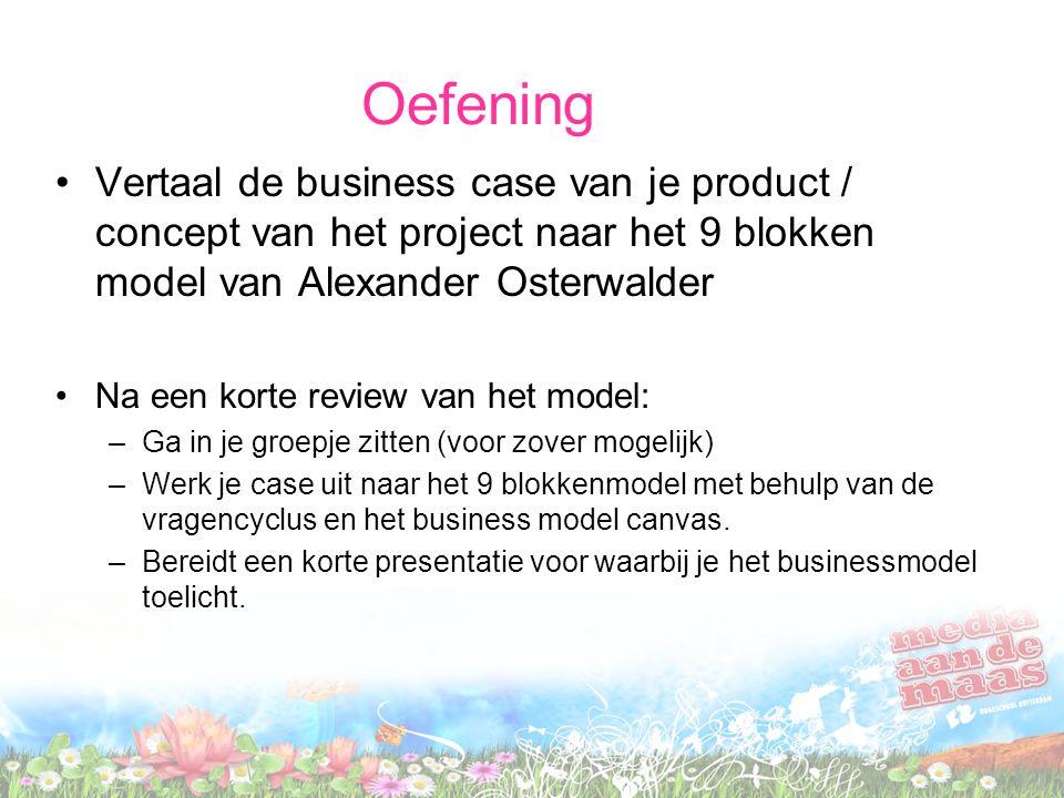 Oefening Vertaal de business case van je product / concept van het project naar het 9 blokken model van Alexander Osterwalder Na een korte review van het model: –Ga in je groepje zitten (voor zover mogelijk) –Werk je case uit naar het 9 blokkenmodel met behulp van de vragencyclus en het business model canvas.