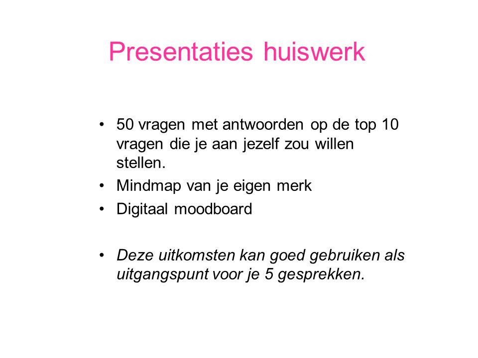 Presentaties huiswerk 50 vragen met antwoorden op de top 10 vragen die je aan jezelf zou willen stellen.