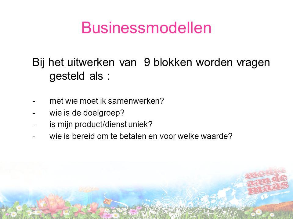 Businessmodellen Bij het uitwerken van 9 blokken worden vragen gesteld als : -met wie moet ik samenwerken? -wie is de doelgroep? -is mijn product/dien