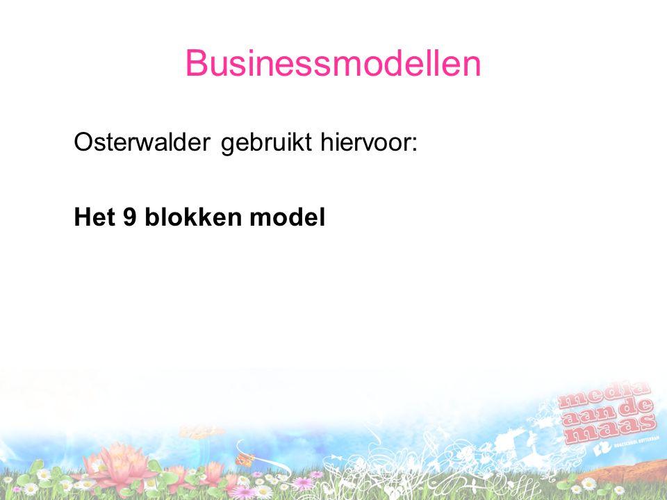 Businessmodellen Osterwalder gebruikt hiervoor: Het 9 blokken model