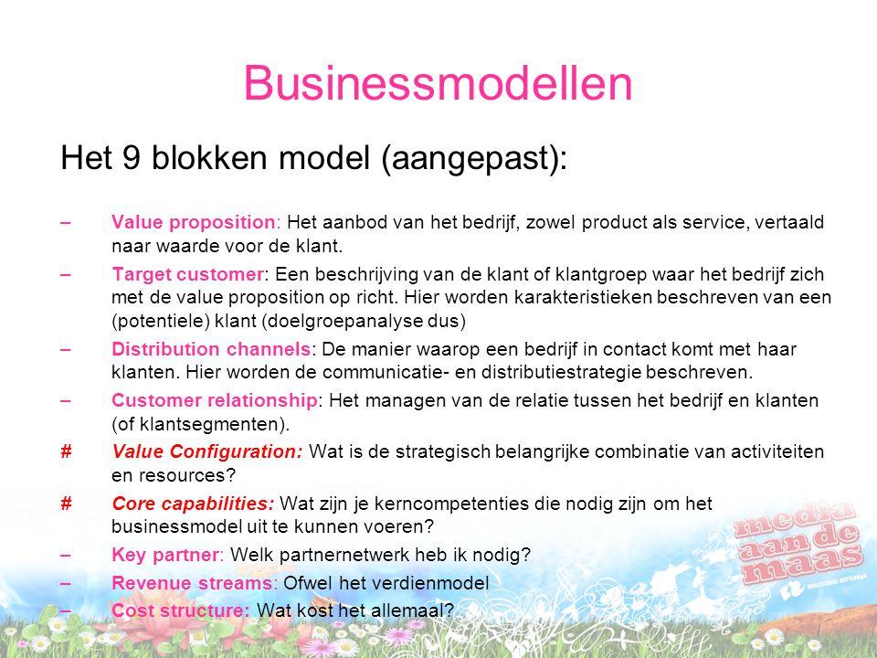 Businessmodellen Het 9 blokken model (aangepast): –Value proposition: Het aanbod van het bedrijf, zowel product als service, vertaald naar waarde voor
